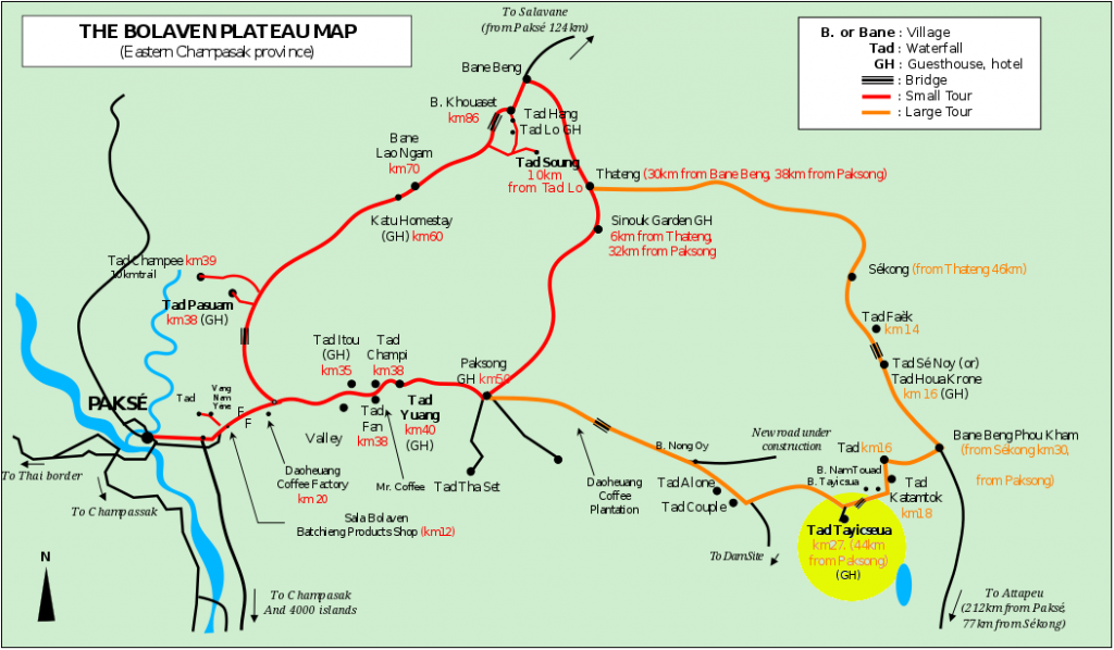 Map of Pakse motorbike loop