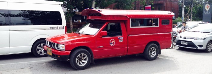 Red truck Chiang Mai songthaews